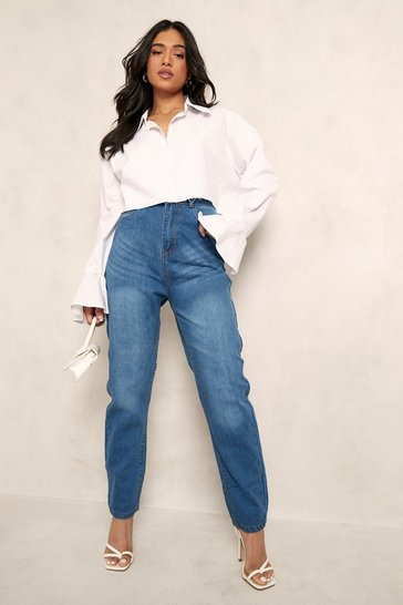Mid blue blue Petite High Rise Mom Jeans