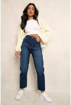 Dark blue blue Petite High Rise Mom Jeans