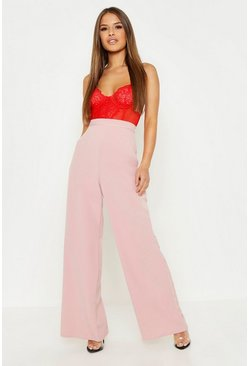 Blush pink Petite  High Waisted Woven Wide Leg Trousers