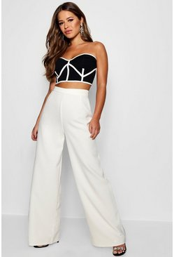 White Petite High Waisted Woven Wide Leg Pants