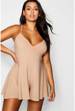 Blush pink Plus Wrap Front Flippy Playsuit