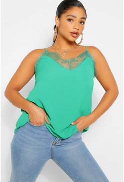 Emerald green Plus Lace Detail Woven Cami
