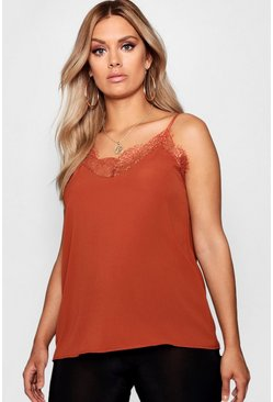 Tobacco brown Plus Lace Detail Woven Cami
