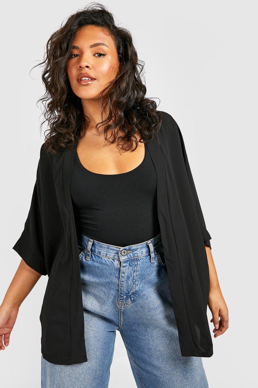 TOPS Black Plus Woven Kimono
