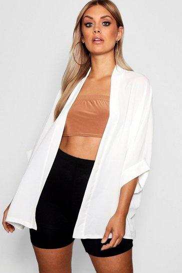 Ivory white White Plus Woven Kimono