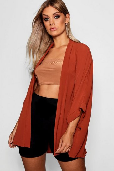 Tobacco brown Brown Plus Woven Kimono