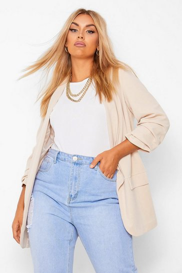 Beige Plus Ruched Sleeve Blazer