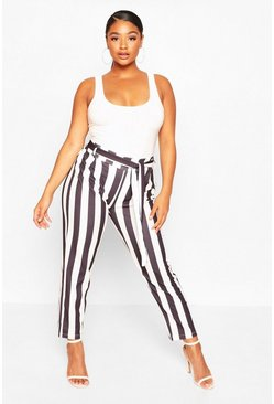 Black Plus Striped Tailored Trousers