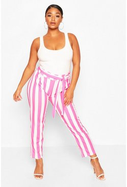 Pink Plus Striped Tailored Trousers