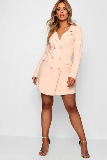 Baby pink pink Plus  Scuba Blazer Dress