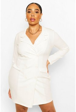 Robe blazer Scuba Plus, Cream blanc
