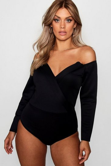 Black Plus Wrap Front Plunge Structured Bodysuit