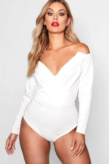 White Plus Wrap Front Plunge Structured Bodysuit
