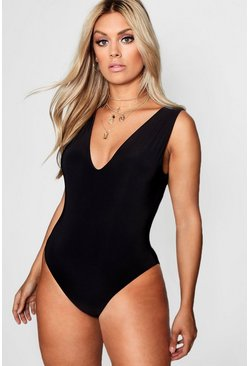 Black Plus  Plunge Neck Double Layer Bodysuit