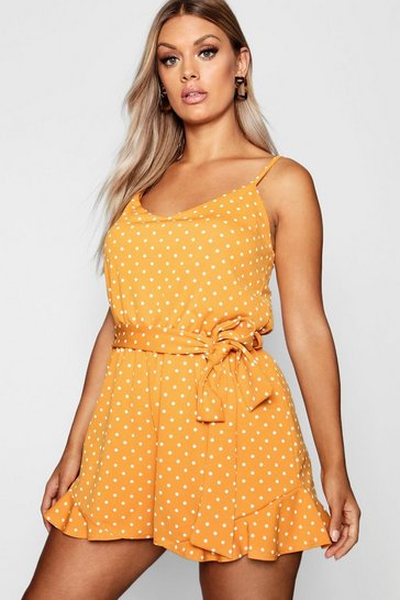 Mustard yellow Plus Spot Print Ruffle Hem Playsuit