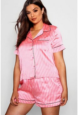 Set pijama in raso a righe Plus, Rosa