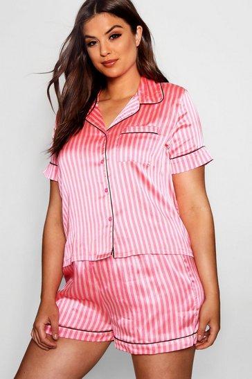 Pink Plus Stripe Satin PJ Set