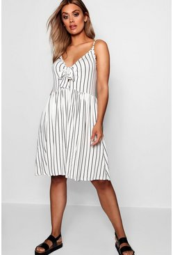 White Plus Tie Front Stripe Split Midi Dress