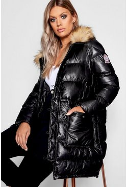 Black Plus High Shine Longline Puffer Parka Coat