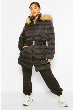 Black Plus Belted Faux Fur Hooded Puffer Long Coat