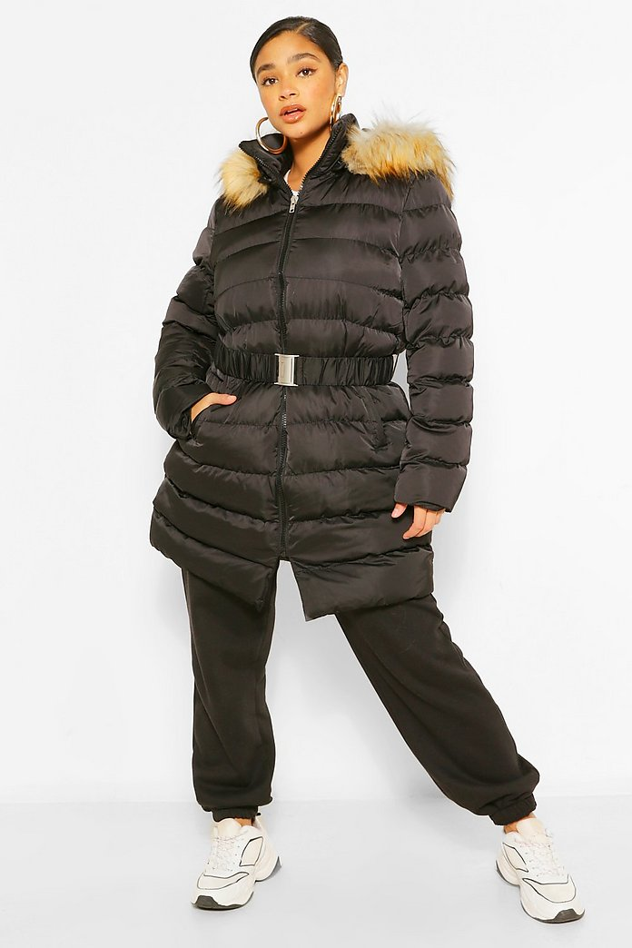 Doudoune longue à capuche en fausse fourrure avec ceinture Plus | boohoo