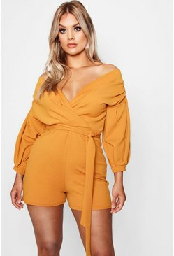 Amber orange Plus Wrap Off The Shoulder Romper