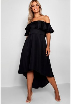Black Plus Liz Off Shoulder Dropped Hem Midaxi Dress