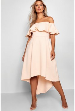 Nude Plus Liz Off Shoulder Dropped Hem Midaxi Dress