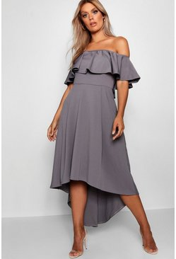 Smoke grey Plus Liz Off Shoulder Dropped Hem Midaxi Dress