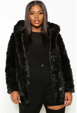 Black Plus Faux Fur Hooded Longline Coat