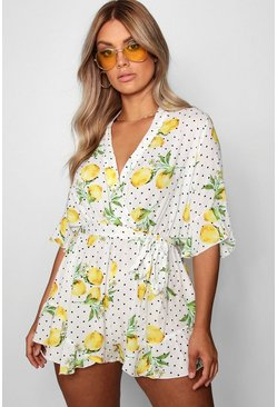 White Plus Lemon Polka Dot Wrap Ruffle Romper