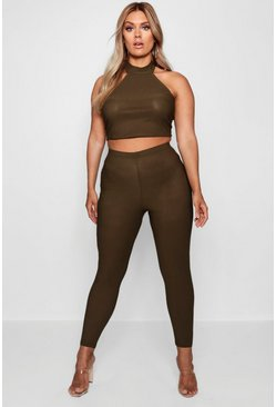 Khaki Plus  High Waist Skinny Trouser
