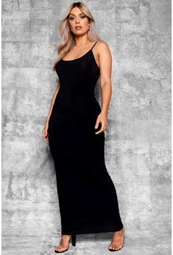 Plus Slinky Strappy Maxi Dress, Black