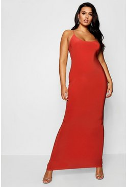 Red Plus Slinky Strappy Maxi Dress
