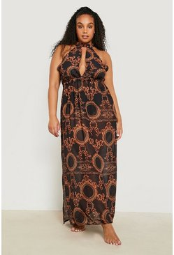 Plus Gemma Collins Chain Print Maxi Beach Dress, Black nero
