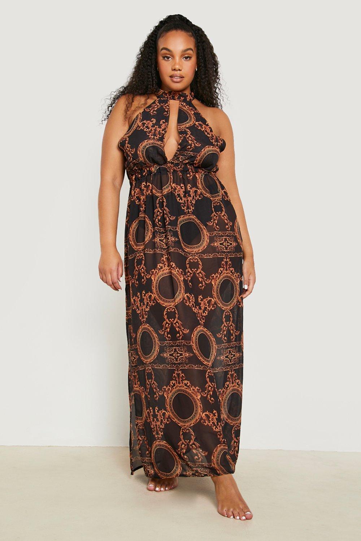 Plus Gemma Collins Chain Print Maxi Beach Dress 8