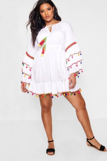 White Plus  Tassel Trim Flare Sleeve Beach Dress