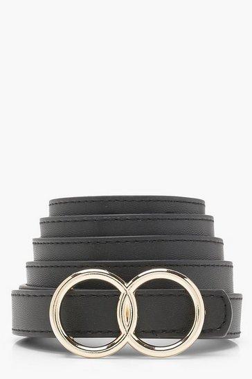 Black Plus Double Ring Buckle Belt