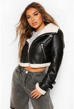 Black Petite Crop Borg Trim Flying Jacket