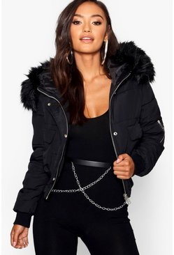 Black Petite Luxe Faux Fur Hood Sporty Cropped Coat