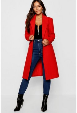 Red Petite Duster Coat