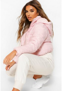 Pale pink pink Petite Hooded Crop High Shine Coat