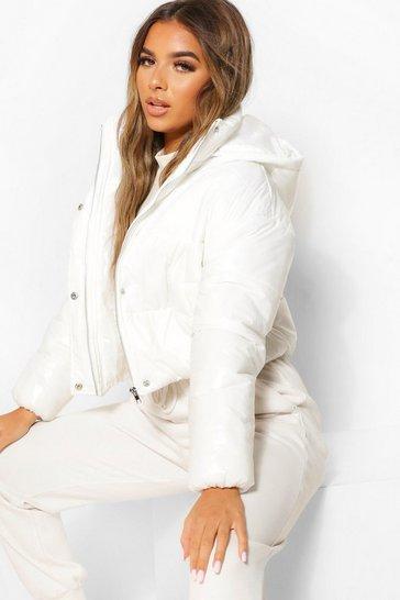 White Petite Hooded Crop High Shine Coat