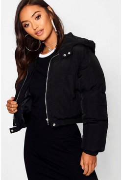 Black Petite Hooded Crop Padded Coat