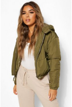 Khaki Petite Hooded Crop Padded Coat