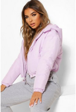 Lilac purple Petite Hooded Crop Padded Coat