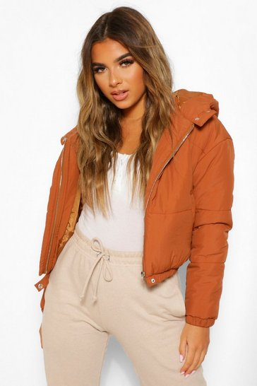 Rust orange Petite Hooded Crop Padded Coat