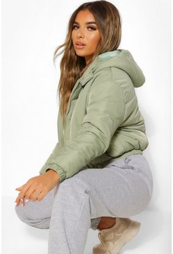 Sage green Petite Hooded Crop Padded Coat