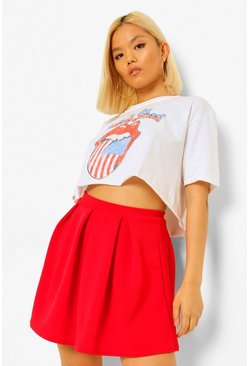 Red Petite Box Pleat Skater Skirt