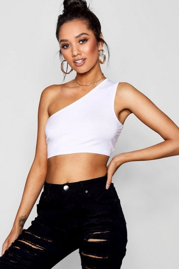White Petite  One Shoulder Crop Top